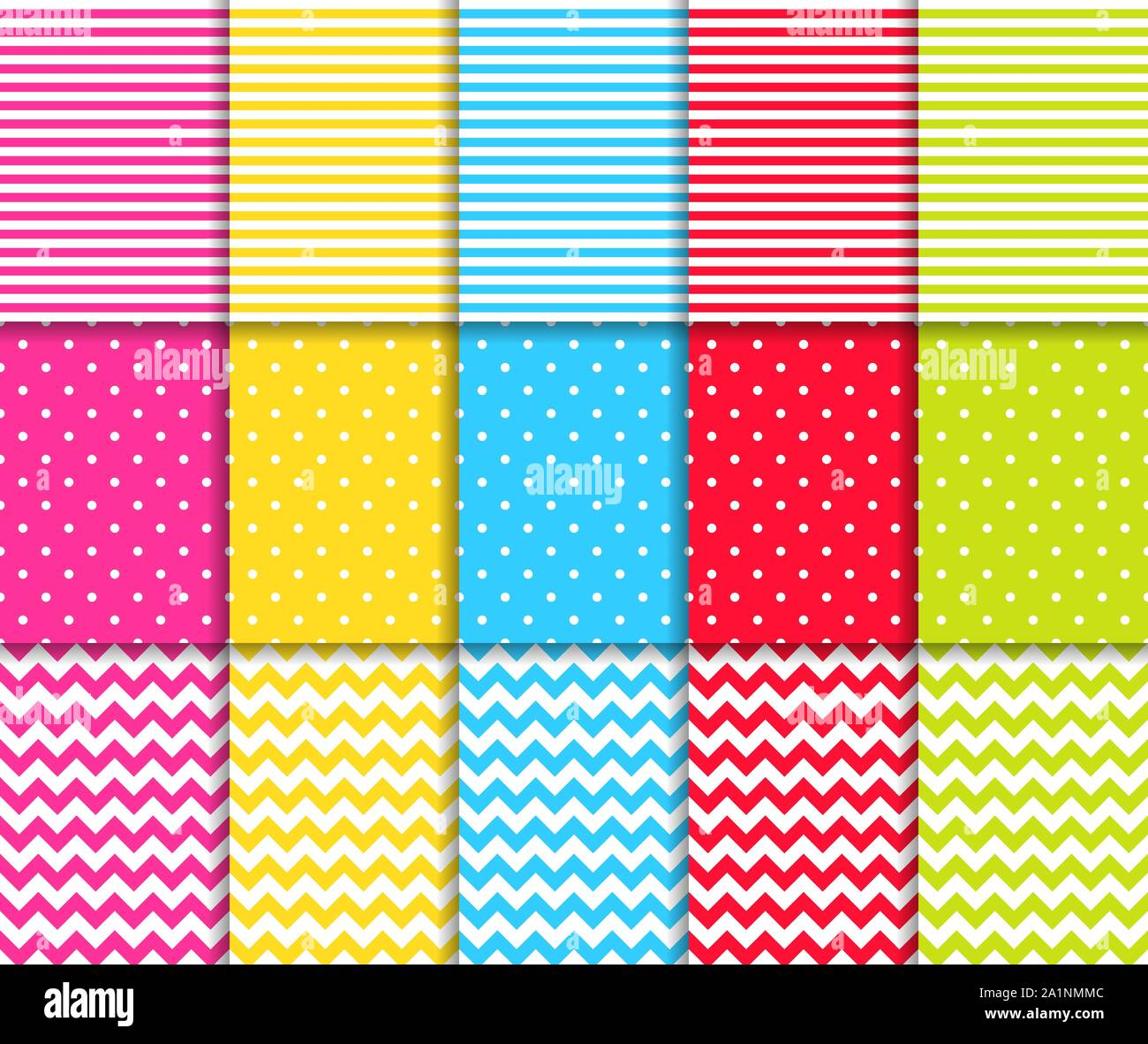 Colorful dotted and striped seamless patterns vector backgrounds Stock Vector