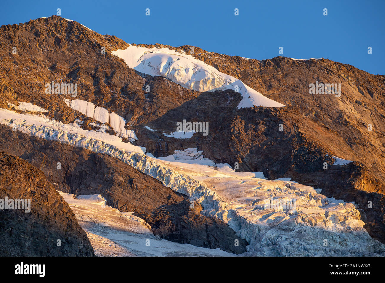 Krimmler Kees glacier. Seracs and crevasses. Sunset sunlight. Krimmler Achen valley. Hohe Tauern National Park. Austrian Alps. Glaciological aspects. Stock Photo