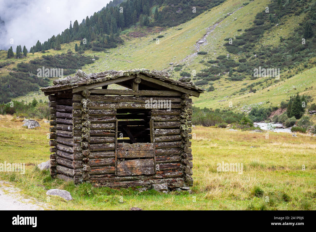 Wooden chalet. Krimmler Achen valley. Hohe Tauern National Park. Austrian Alps. Stock Photo