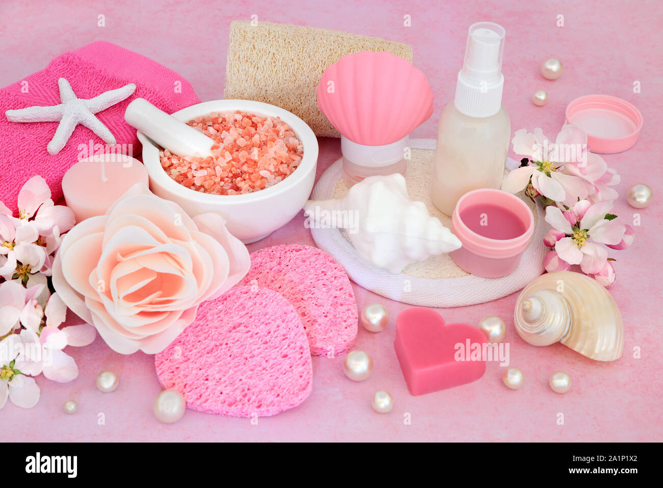 Skincare Beauty Treatment With Spa Exfoliation And Cleansing Products With Apple Blossom Flowers On Pink Background Stock Photo Alamy