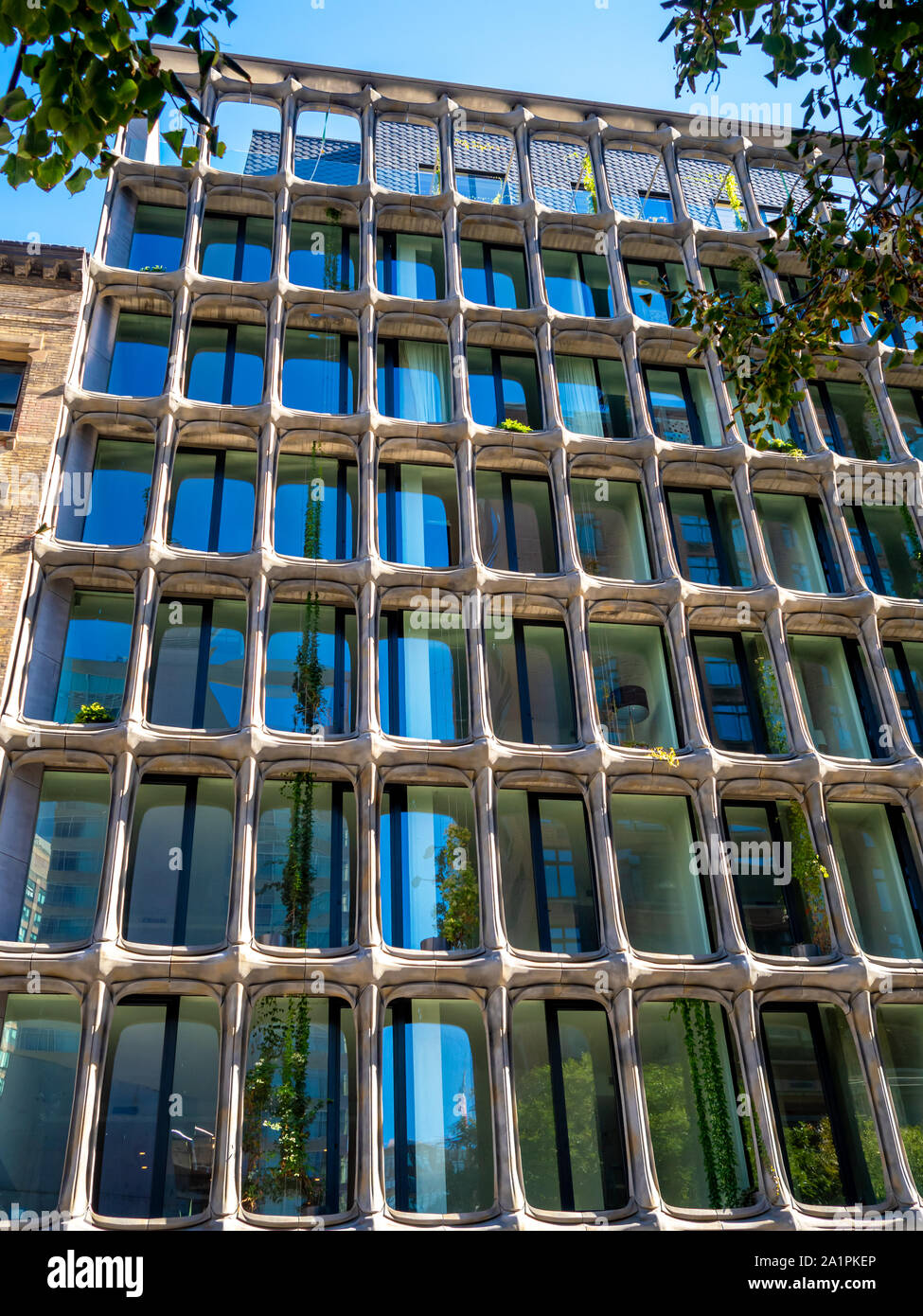 one of a kind architecture artistic building facade in downtown Manhattan Stock Photo