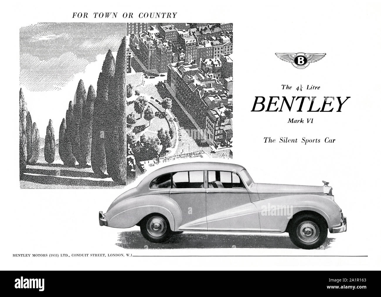 Advert for the Bentley Mark VI sports car, 1951. The Mark VI 4-door standard steel sports saloon was the first post-war luxury car from Bentley. It was also both the first car from Rolls-Royce with all-steel coachwork and the first complete car assembled and finished at their factory. Stock Photo