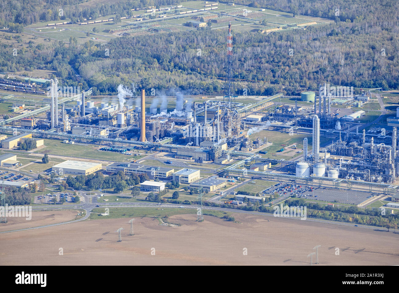 Detail of an oil refinery Stock Photo