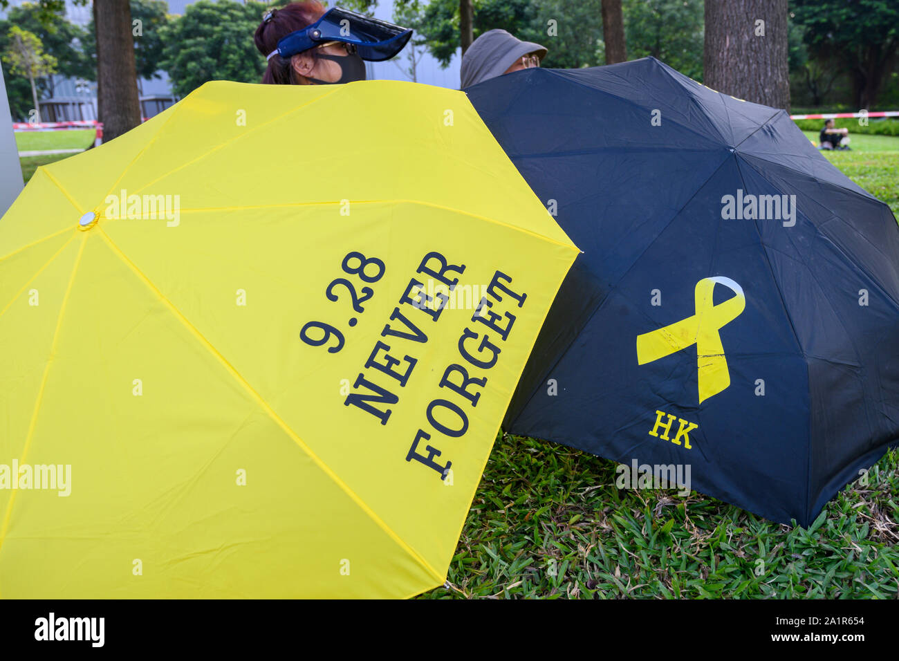 Tamar, Admiratly, Hong Kong, September 29 2019.  The fifth anniversary of the umbrella revolution. Tens of thousands gathered at Tamar for a rally to mark the beginning of the Occupy movement five years ago. Stock Photo