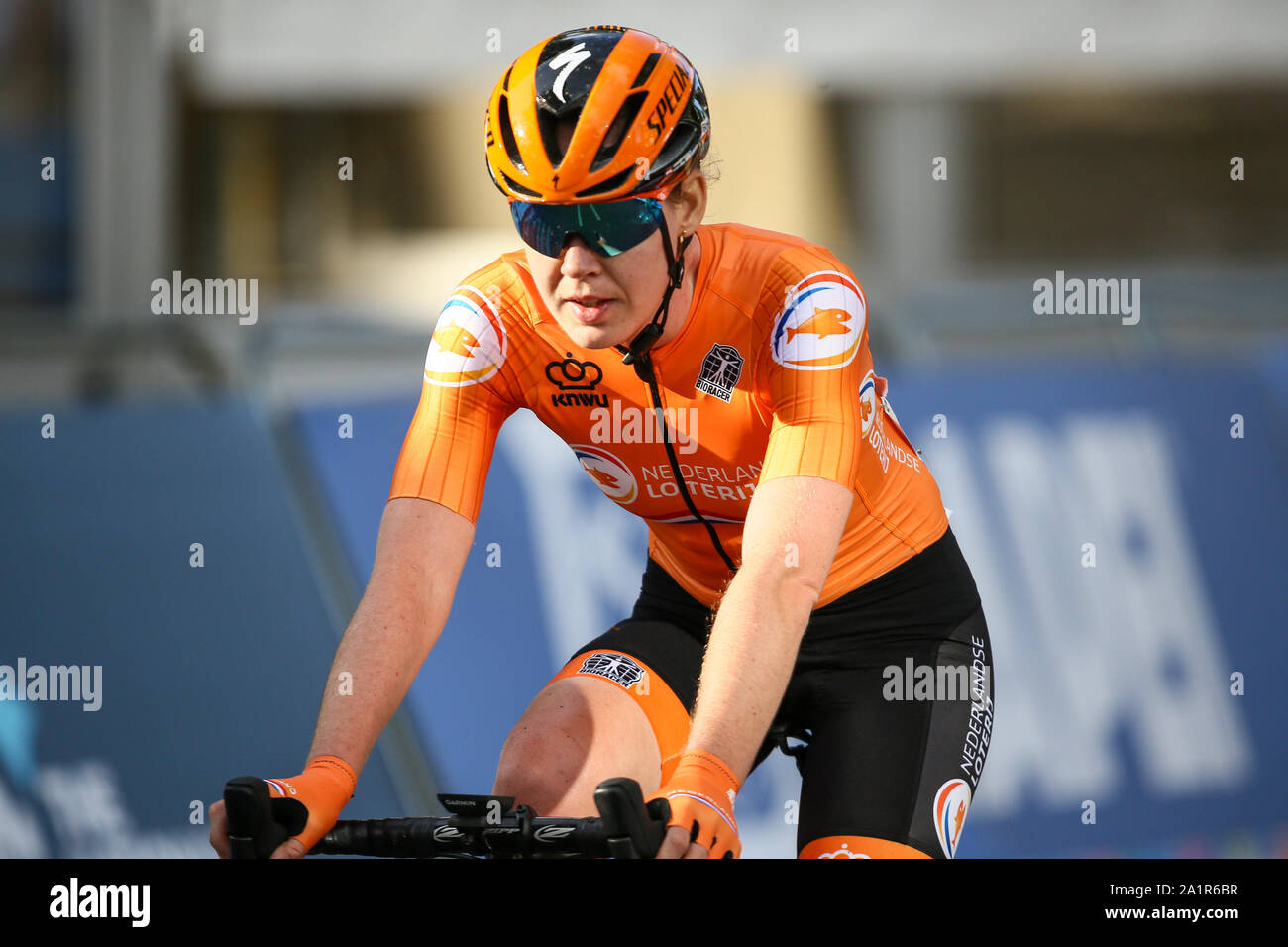 Harrogate, UK. 28th Sep, 2019. Anna Van Der Breggen of the Netherlands takes Silver in the 2019 UCI Road World Championships Womens Elite Road Race. September 28, 2019 Credit Dan-Cooke/Alamy Live News Stock Photo