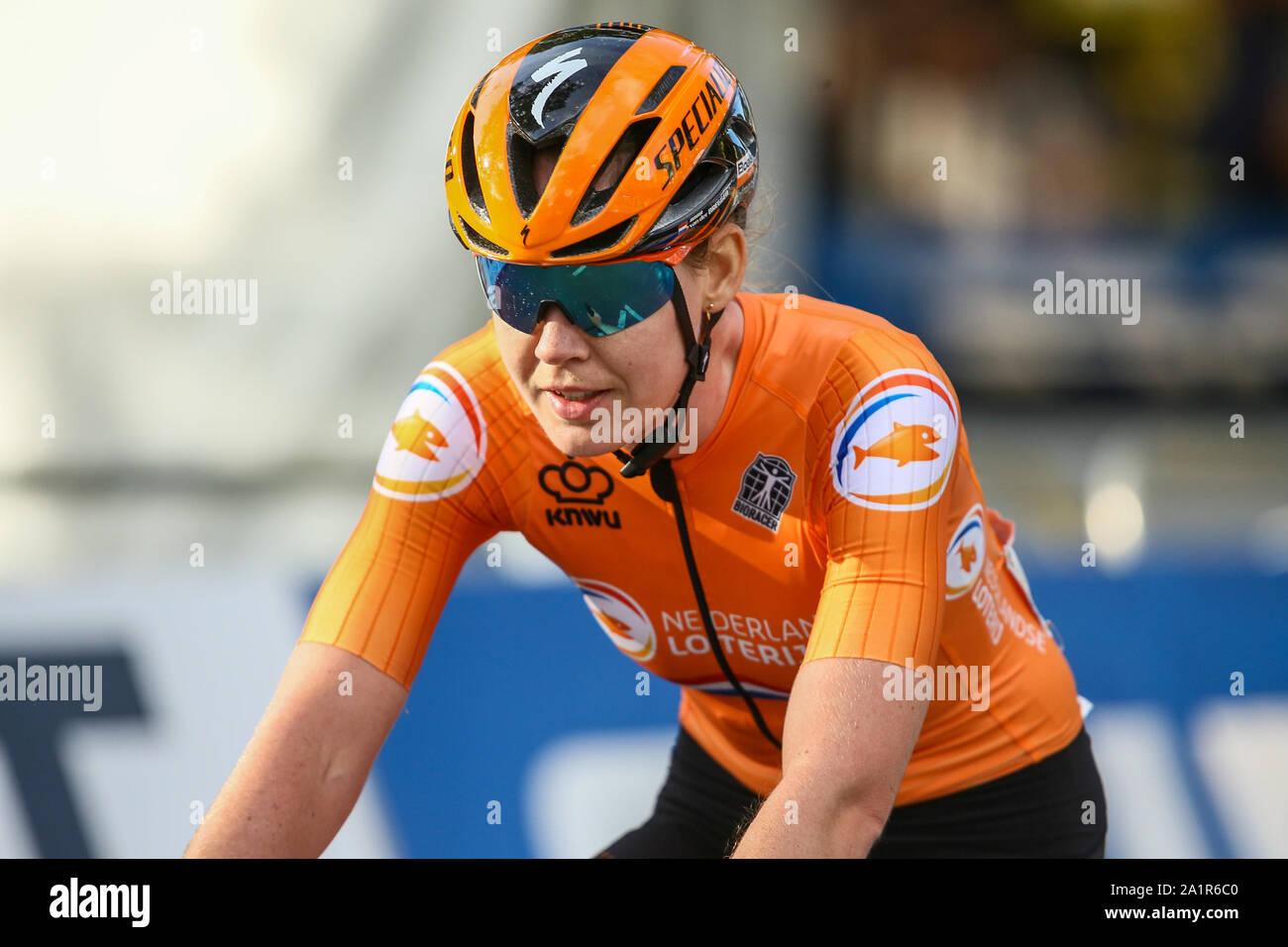 Harrogate, UK. 28th Sep, 2019. Anna Van Der Breggen of the Netherlands takes Silver in the 2019 UCI Road World Championships Womens Elite Road Race. September 28, 2019 Credit Dan-Cooke/Alamy Live News Stock Photo