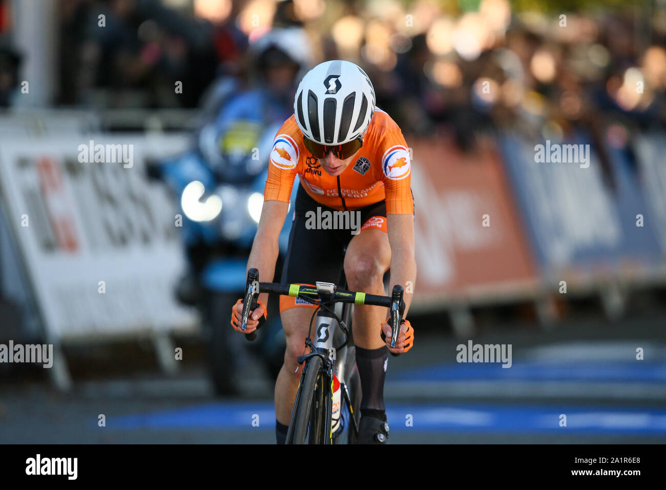 Harrogate, UK. 28th Sep, 2019. Chloe Dygert of the USA just misses out on the podium in the 2019 UCI Road World Championships Womens Elite Road Race. September 28, 2019 Credit Dan-Cooke/Alamy Live News Stock Photo