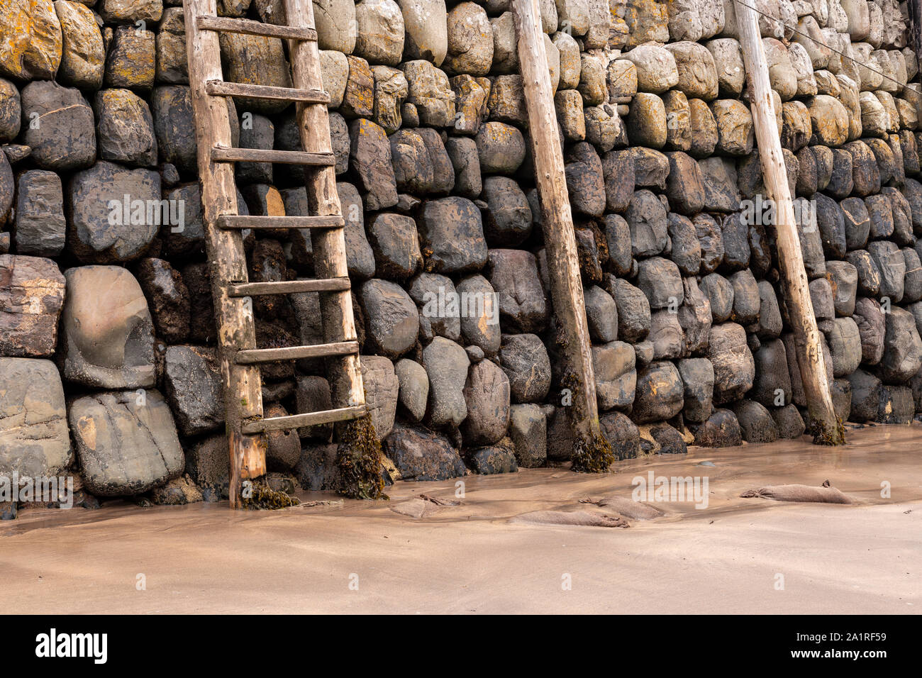 Harbour wall at Clovelly on the North Devon coast Stock Photo
