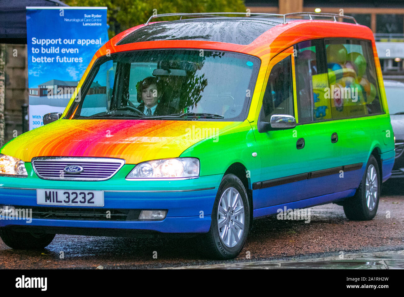 Preston Lancashire Uk Entertainment 28th Sept 2019 A Sunny Afternoon For The 8th Annual City Gay Pride Festival Held In The Flag Market Coop Funeral Care Rainbow Hearse And Casket Credit Mediaworldimages Alamylivenews