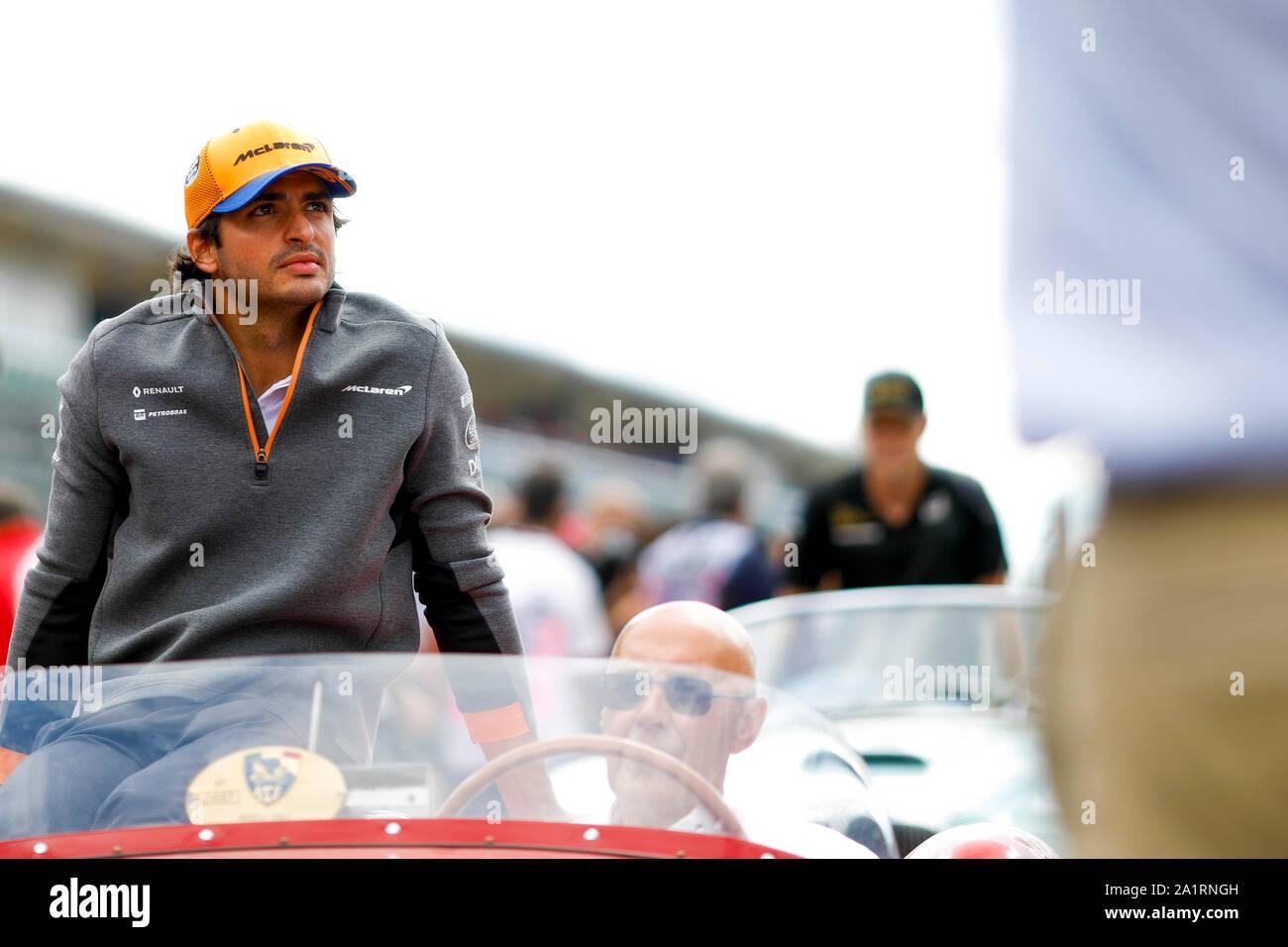 CARLOS SAINZ Jr of McLaren F1 Team at the Formula 1 Italian Grand Prix at Monza Eni Circuit in Monza, Italy. Stock Photo