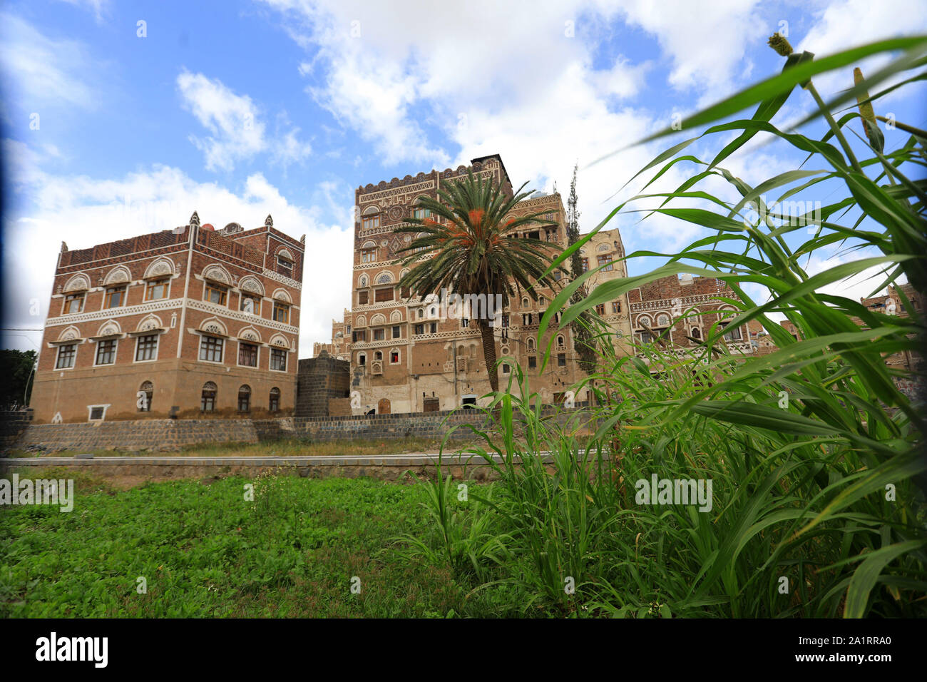A view of the old building city of the Yemeni capital Sanaa on September 28, 2019. Stock Photo