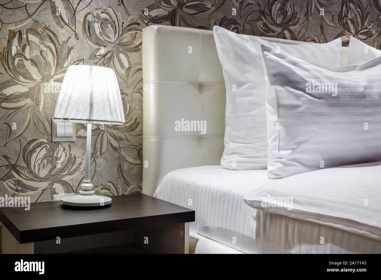 Night Lamp With Lampshade On Bedside Tables Near Double Bed With Pillows In Interior Of The Modern Bedroom Stock Photo Alamy