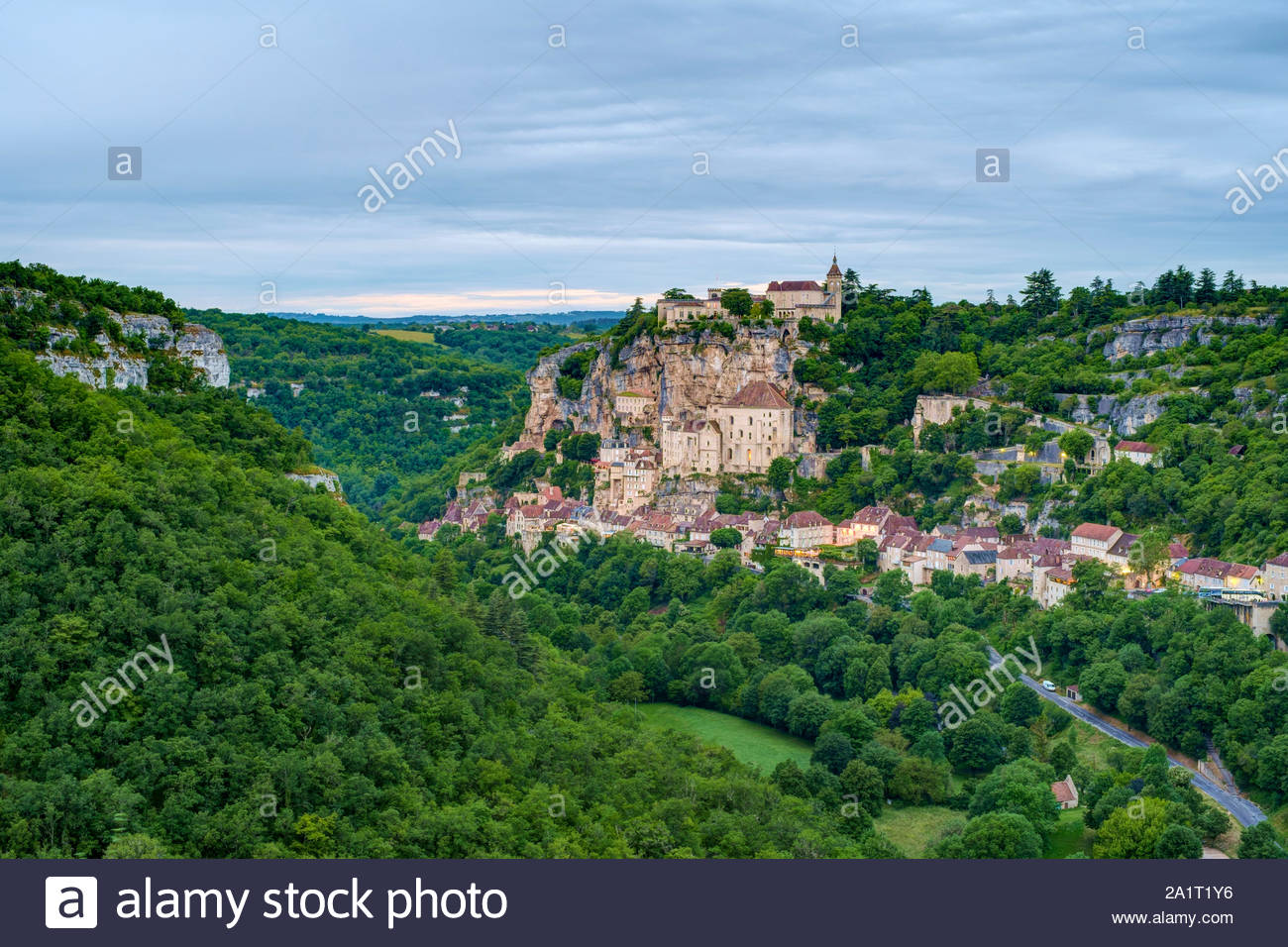 Rocamadour, pilgrimage town along El Camino de Santiago, Lot Department, Midi-Pyrénées, France Stock Photo
