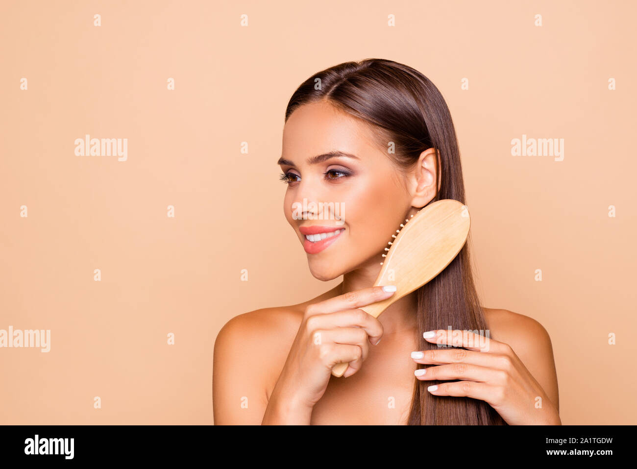 Portrait of charming well-groomed dreamy brunette hair lady with Stock Photo