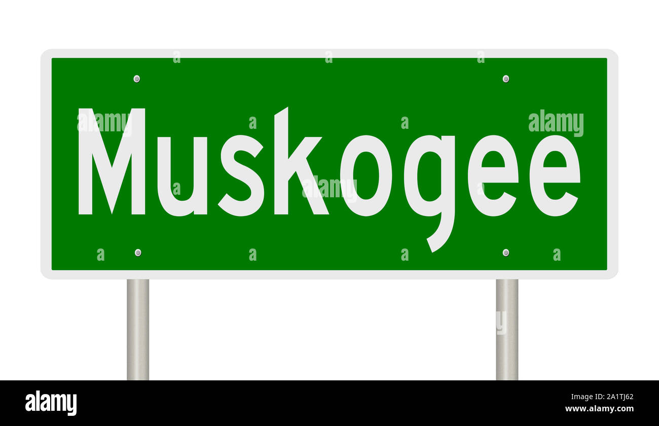 Rendering of a green highway sign for Muskogee Oklahoma Stock Photo