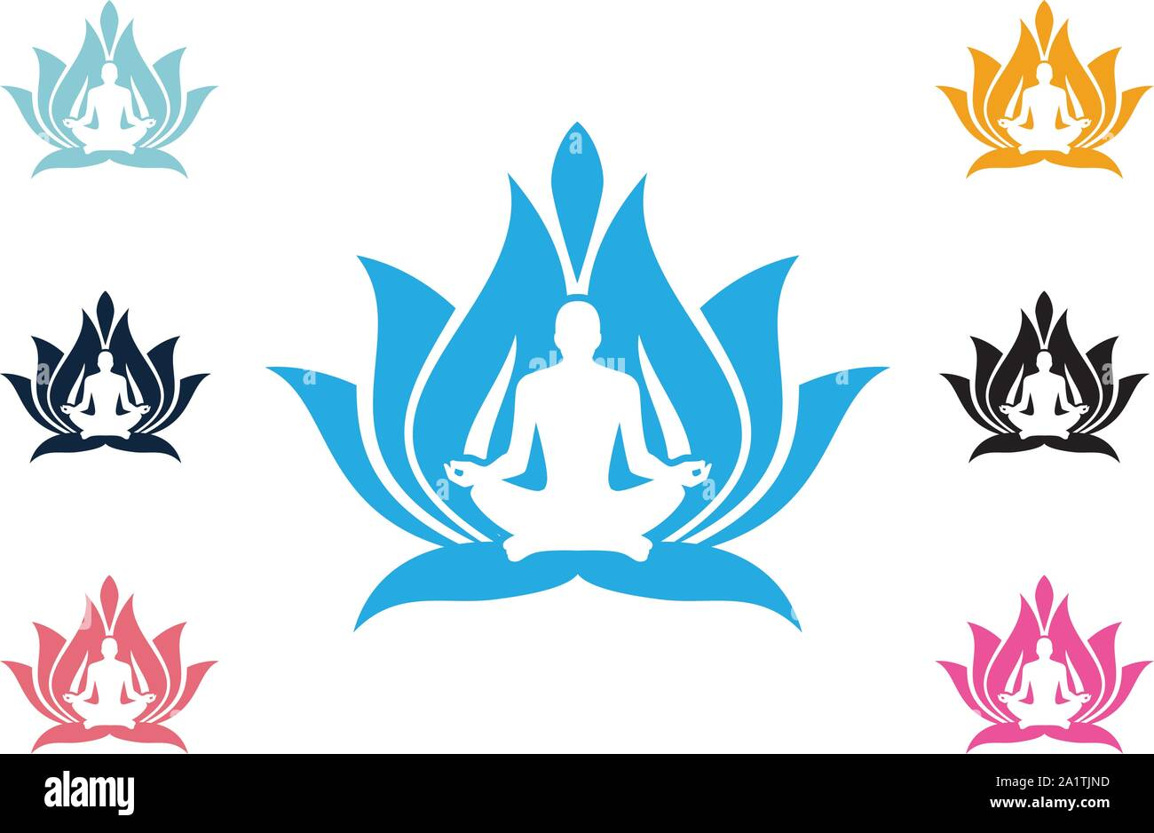 Yoga Logo Template Lotus Flower Logo With Human Silhouette Yoga Logo Vector Emblem Yoga Pose Vector Logo Design Template Beauty Spa Relax Stock Vector Image Art Alamy