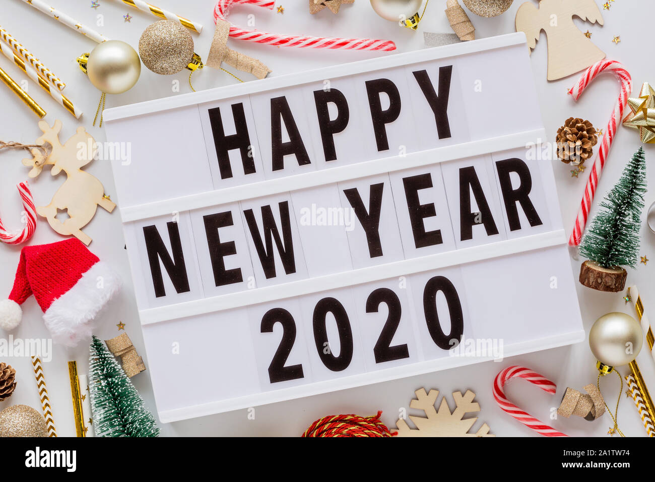 Christmas Composition Phrase Happy New Year 2020 On