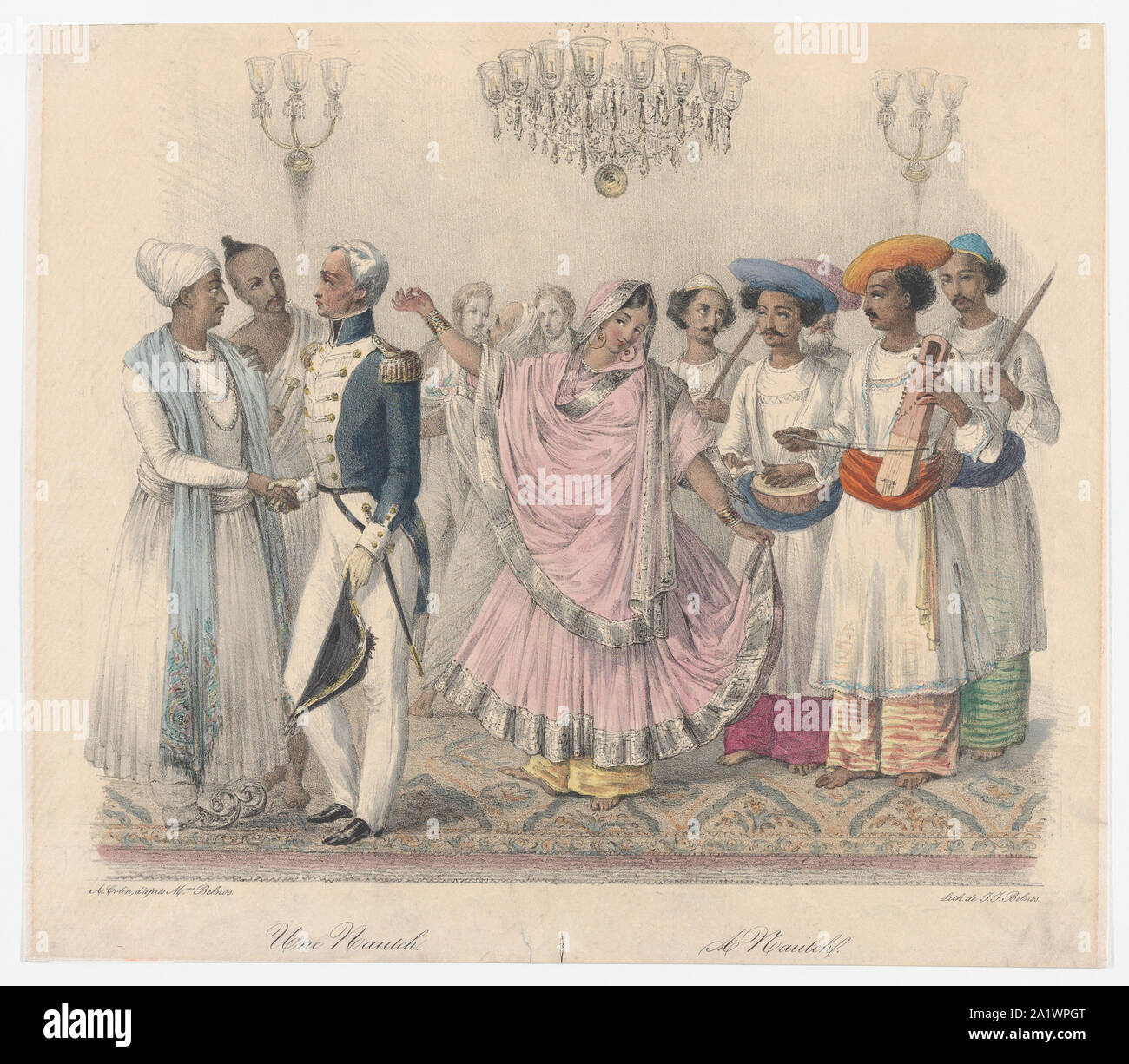 Une Nautch from Twenty four Plates Illustrative of Hindoo and European Manners in Bengal,1832.jpg - 2A1WPGT Stock Photo