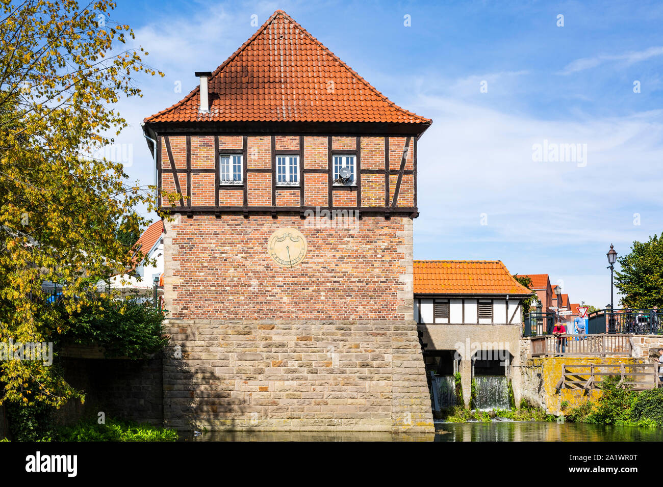 D-Luedinghausen, Stever, Muensterland, Westphalia, North Rhine-Westphalia, NRW, Borgmuehle, Borg Mill at the Stever, Muehlenstever, water mill Stock Photo
