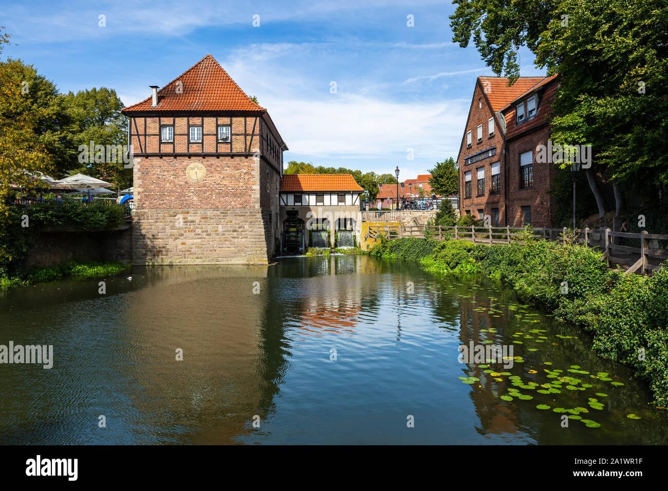 D-Luedinghausen, Stever, Muensterland, Westphalia, North Rhine-Westphalia, NRW, Borgmuehle, Borg Mill at the Stever, Muehlenstever, water mill, pond Stock Photo