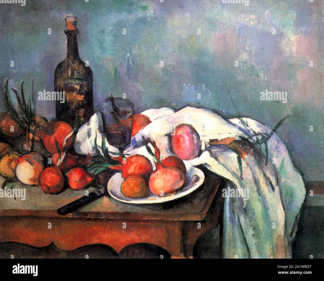 Still Life with Onions by Paul Cézanne Stock Photo