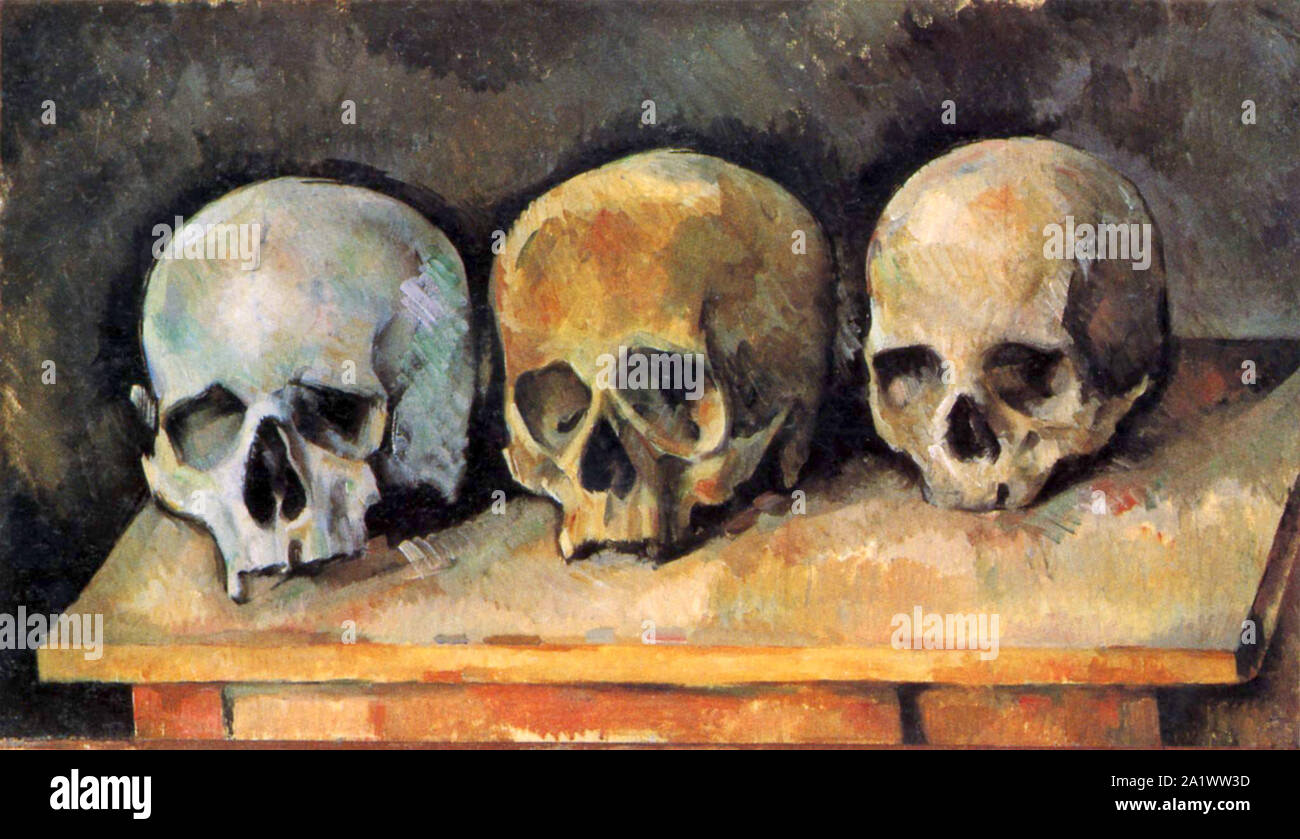 The Three Skulls by Paul Cézanne Stock Photo
