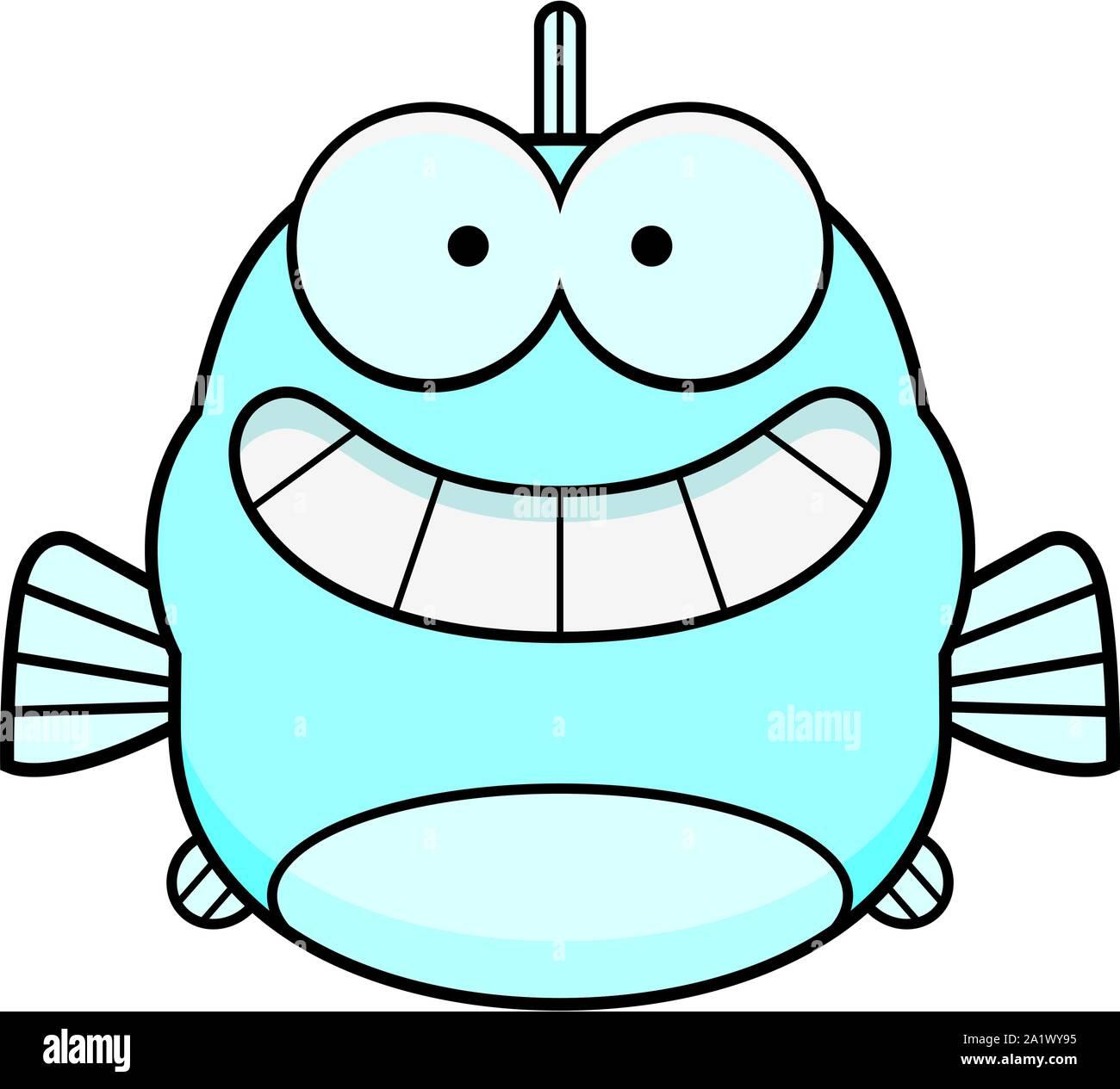 A cartoon illustration of a fish looking happy. Stock Vector