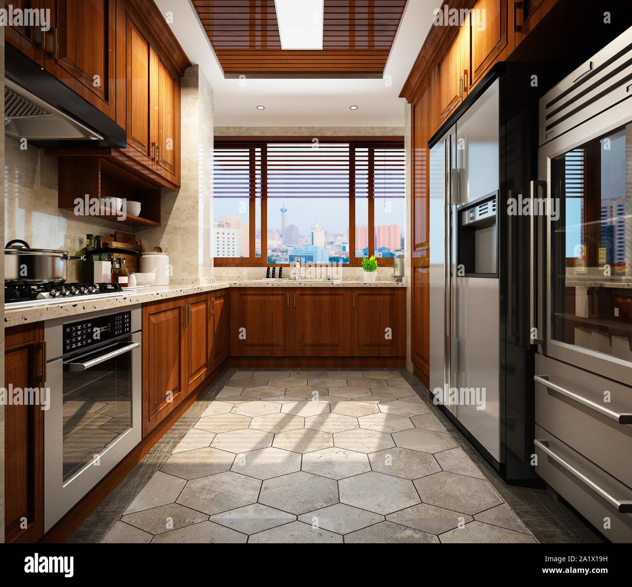3d render of modern kitchen Stock Photo