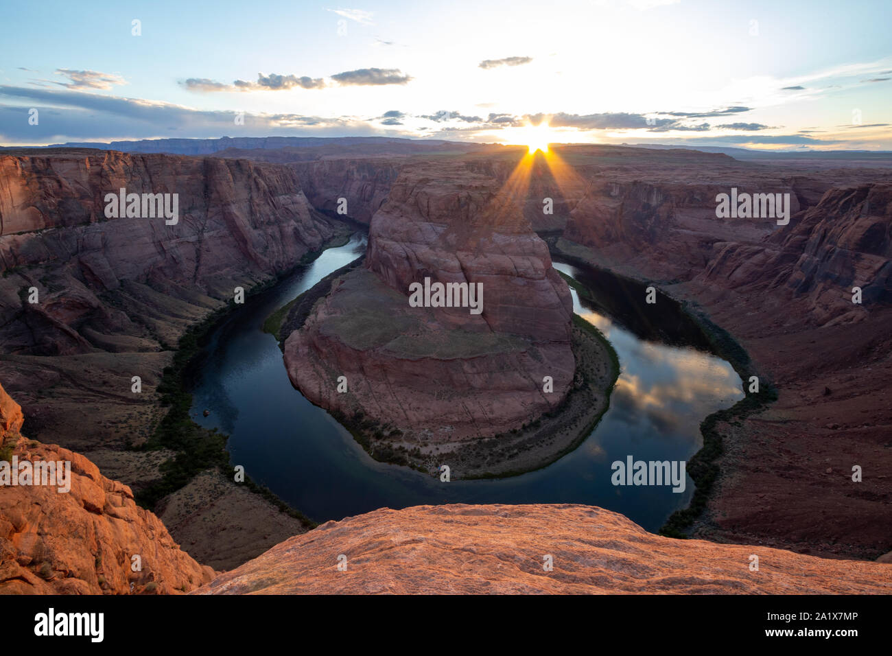 Horseshoe Bend is a horseshoe-shaped incised meander of the Colorado River located near the town of Page, Arizona, United States. Travel USA, bucket l Stock Photo