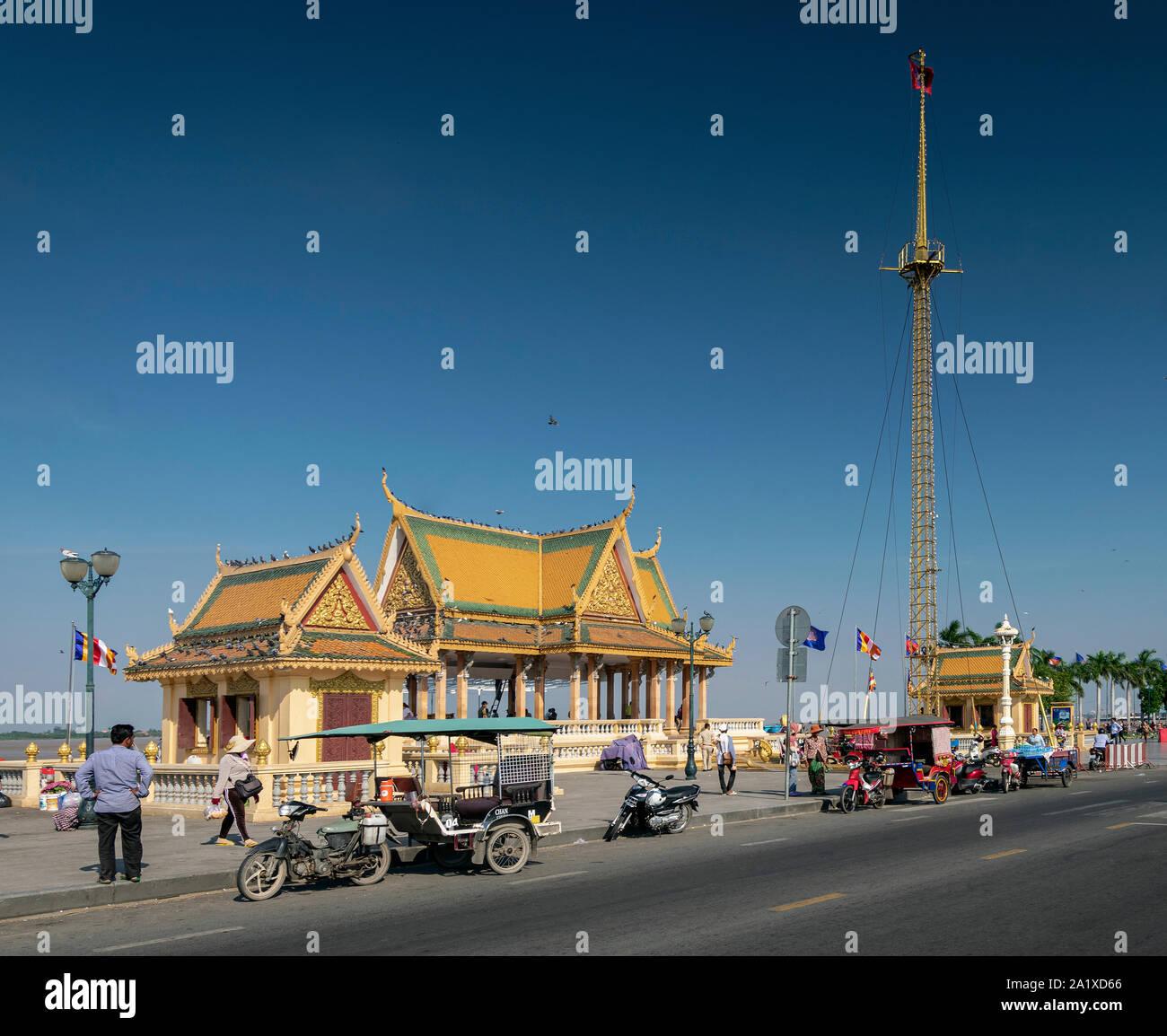 Preah Ang Dorngkeu Shrine landmark on sisowath quay in riverside area of downtown phnom penh city cambodia Stock Photo