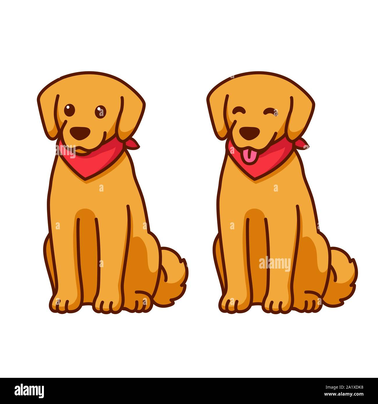 Cartoon Golden Retriever Drawing With Red Bandana Friendly Dog Sitting With Tongue Out Cute Pet Labrador Vector Illustration Stock Vector Image Art Alamy