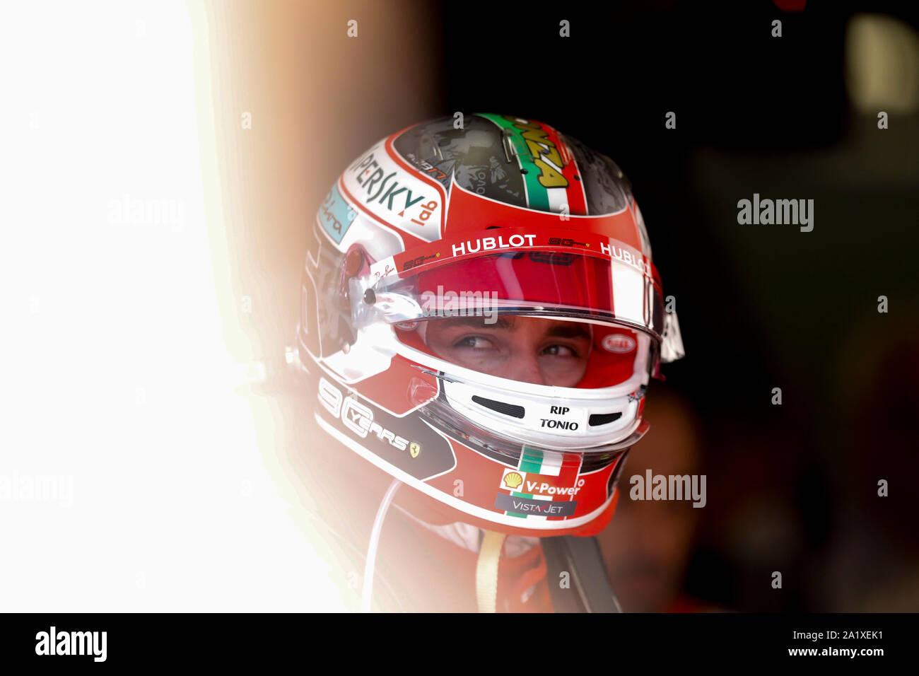 CHARLES LECLERC of Scuderia Ferrari at the Formula 1 Italian Grand Prix at Monza Eni Circuit in Monza, Italy. Stock Photo