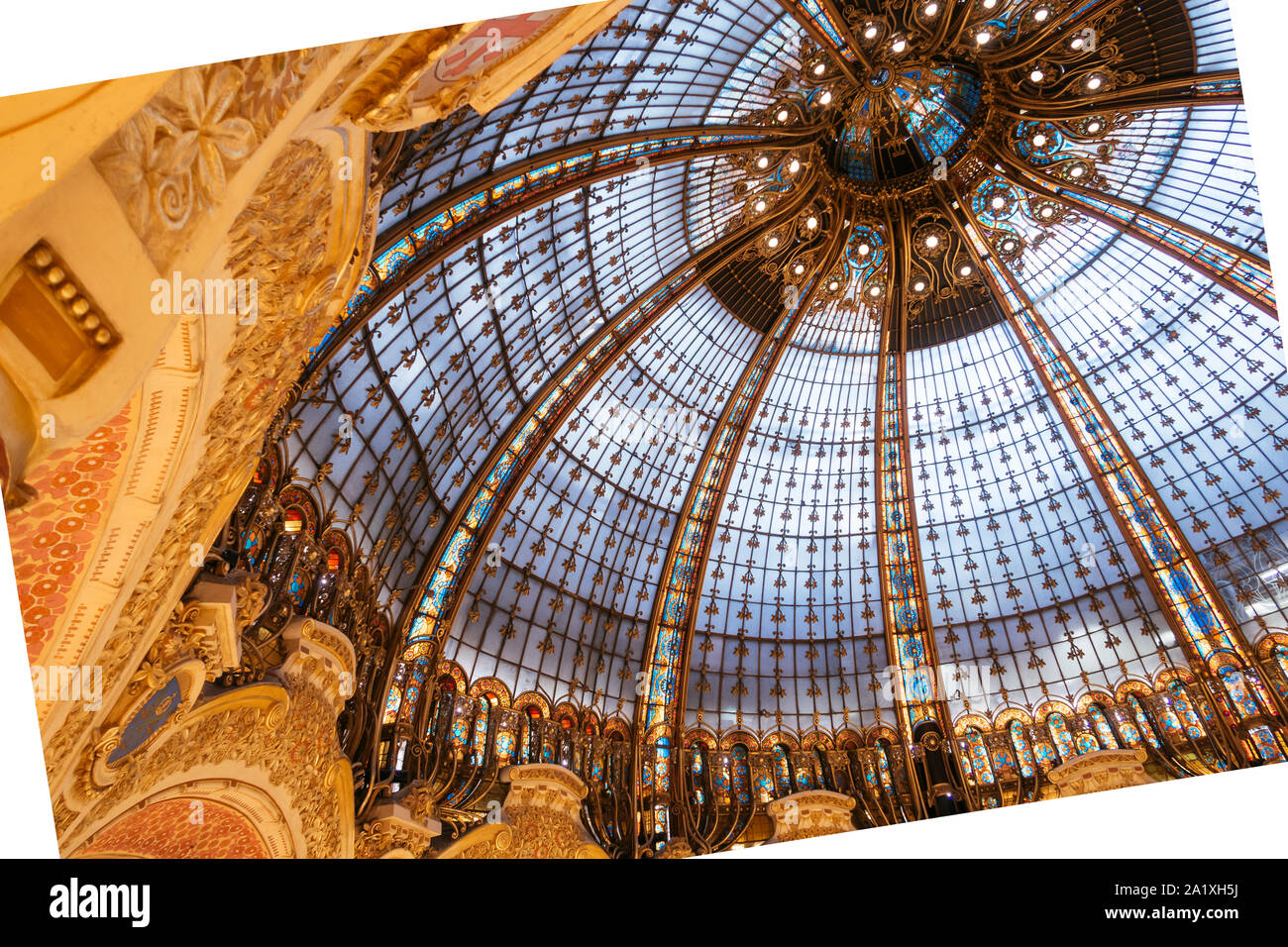 Paris, France - Sept 05, 2019: The glassroof of the Galeries Lafayette interior in Paris. The architect Georges Chedanne Stock Photo