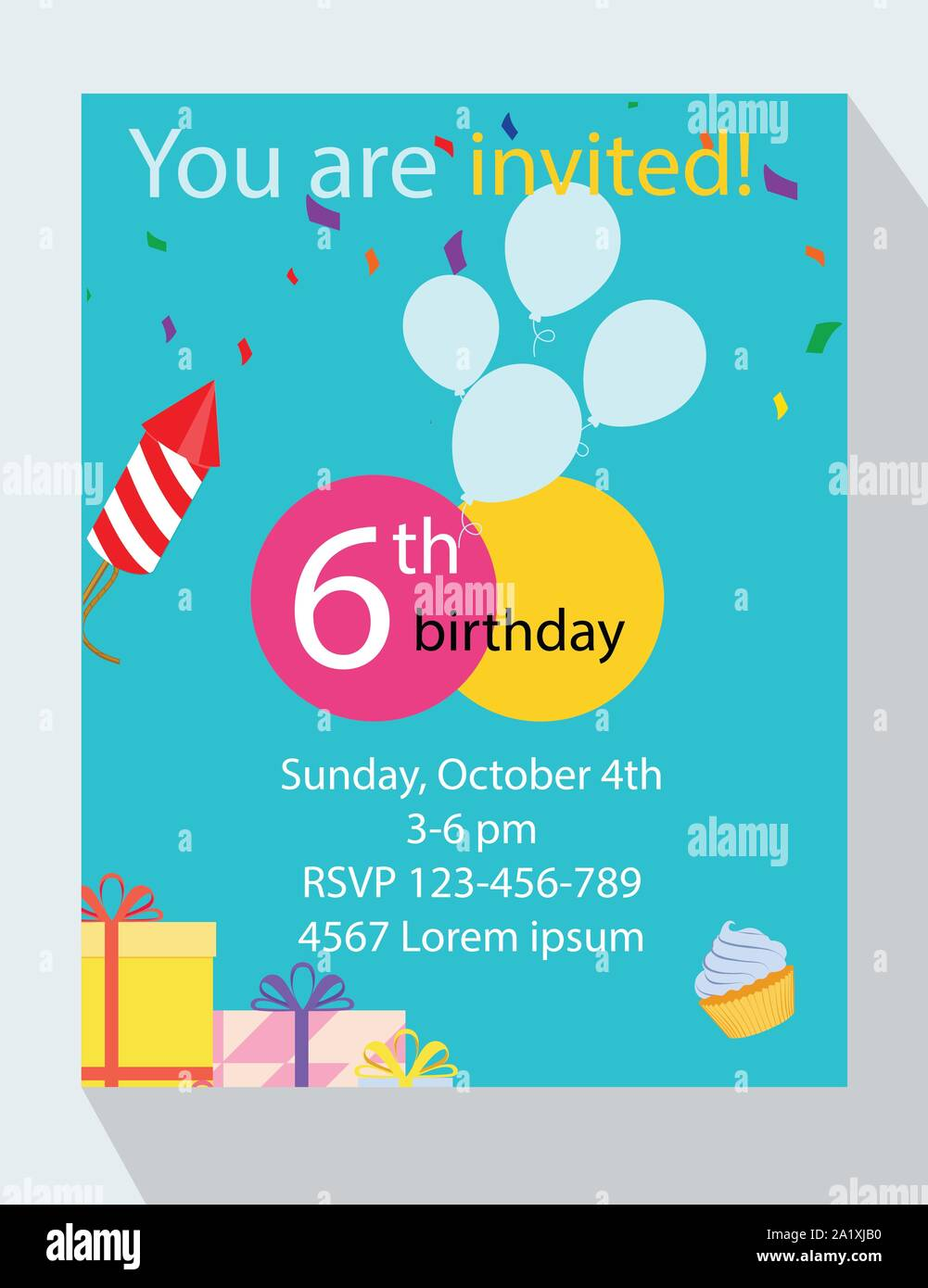 Birthday Party Invitation Card You Are Invited 6th