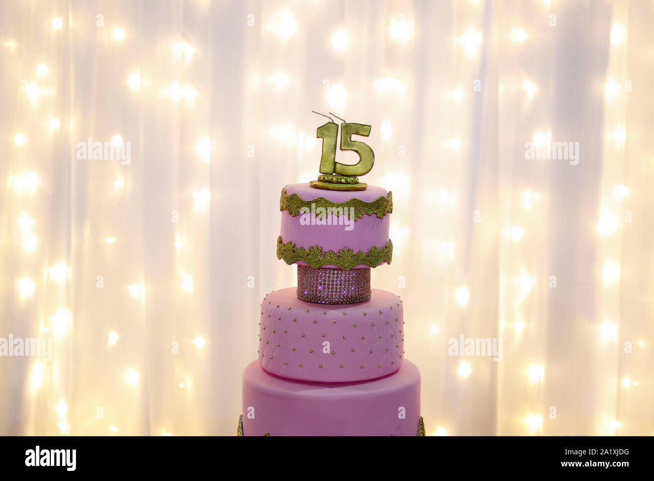Incredible Pink Party Cake 15Th Birthday With Golden Number Fifteen Pink Funny Birthday Cards Online Fluifree Goldxyz