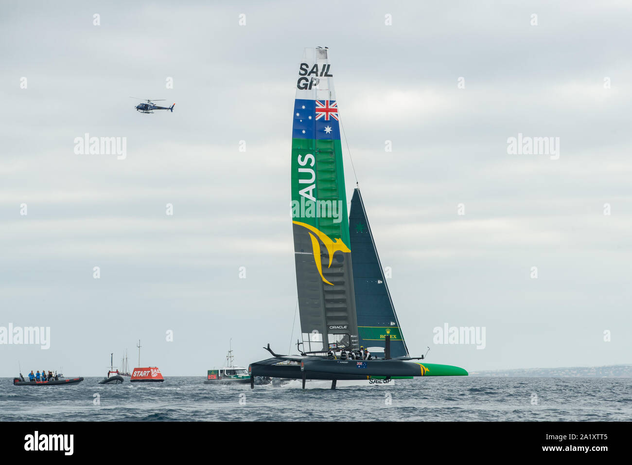 The Australia Team F50 catamaran in action. Race Day 3. The final SailGP event of Season 1 in Marseille, France Stock Photo