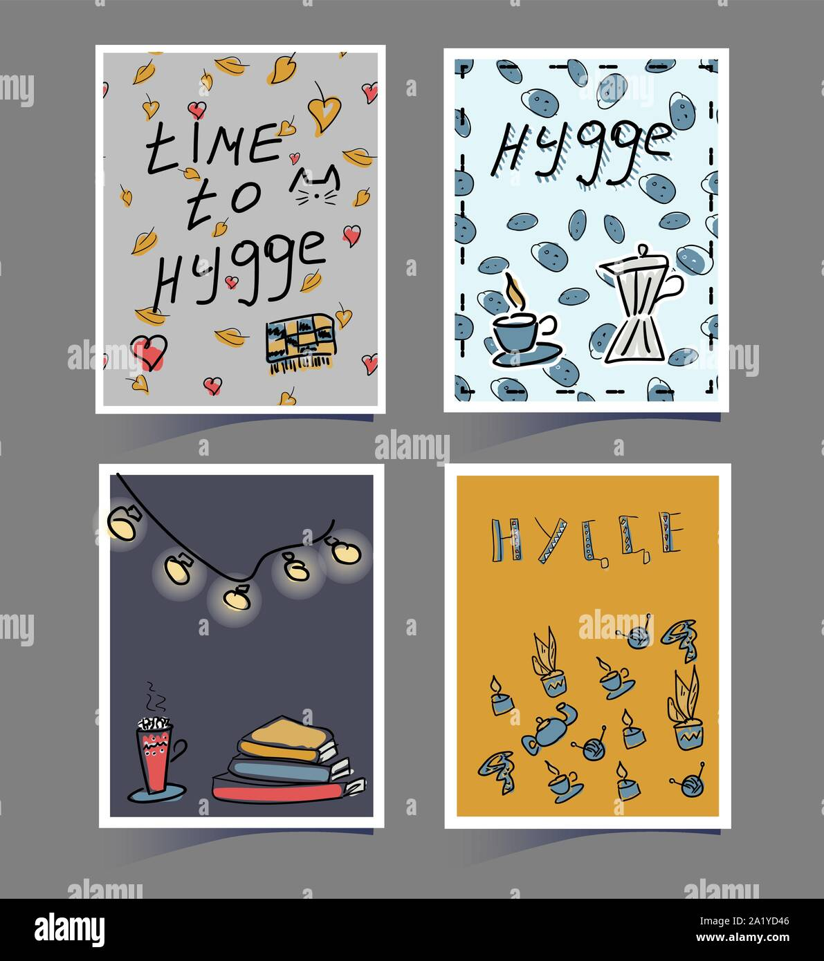 A set of cards with the inscription Hugge. Cute hand drawings of a plaid, coffee pot, leaves, books and cocoa in a Scandinavian style. Autumn banners Stock Vector