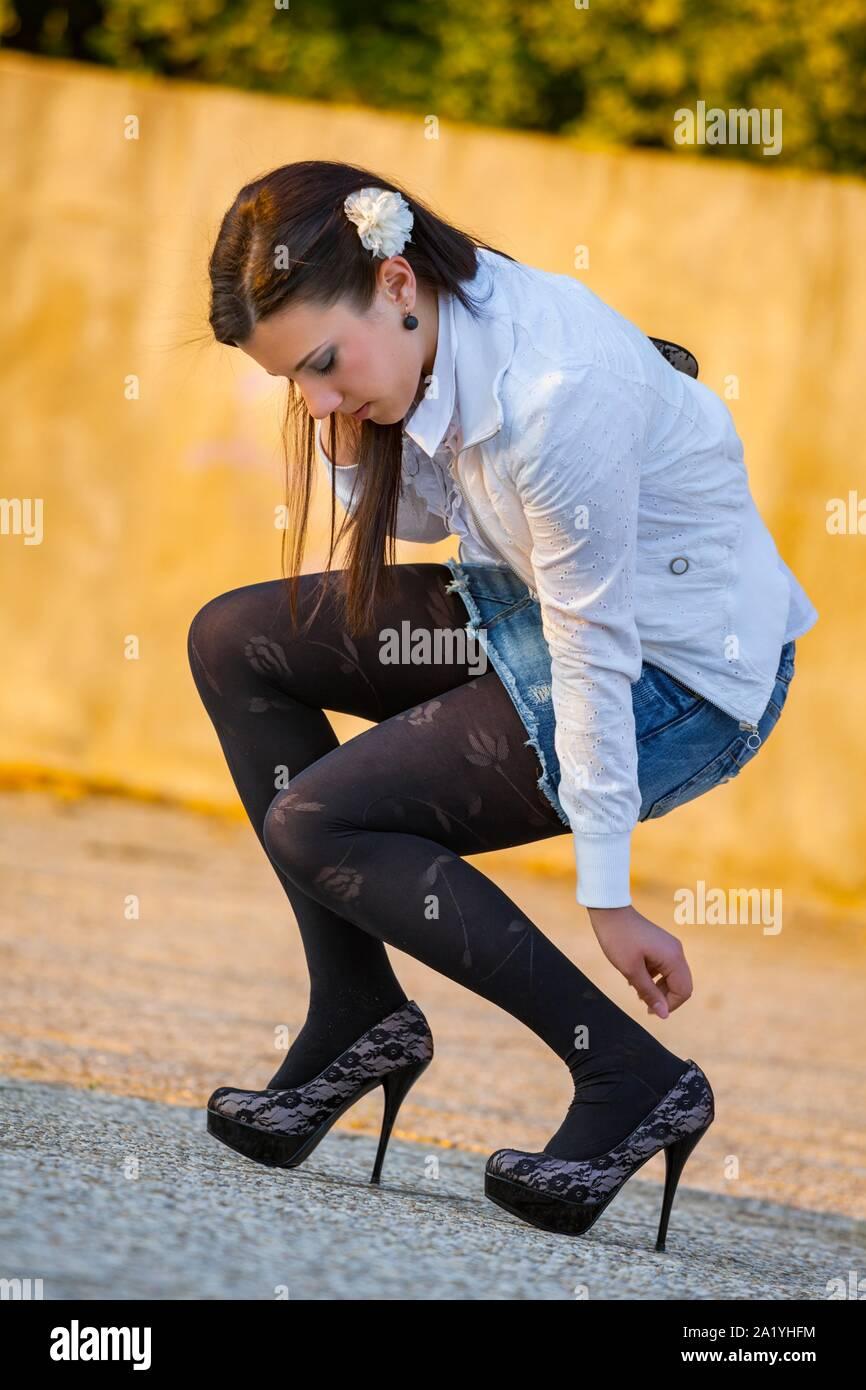 Black tights Stock Photo