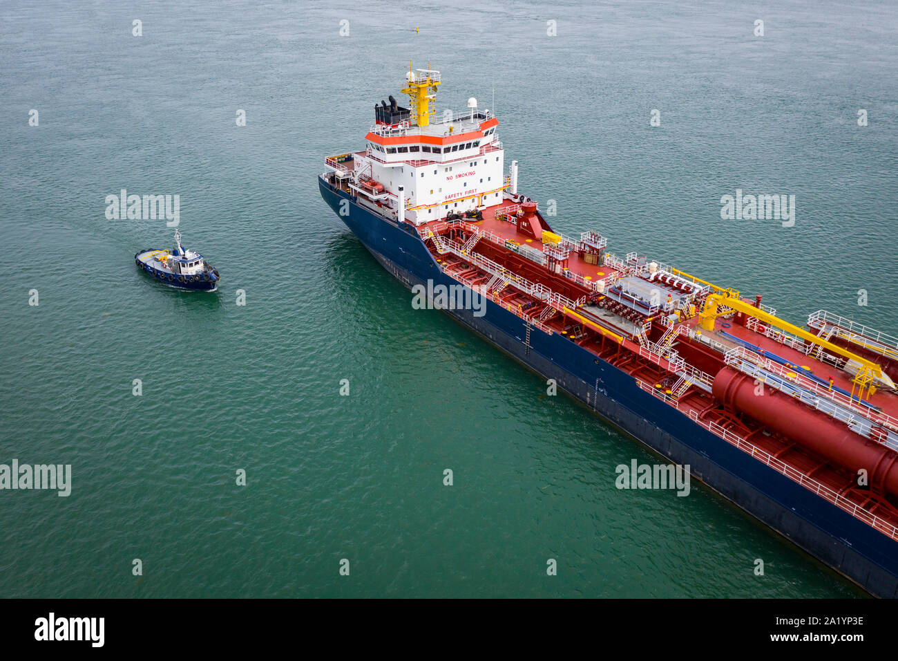 Chemical and oil products tanker anchored at the Port of Montreal in the St. Lawrence River. Stock Photo