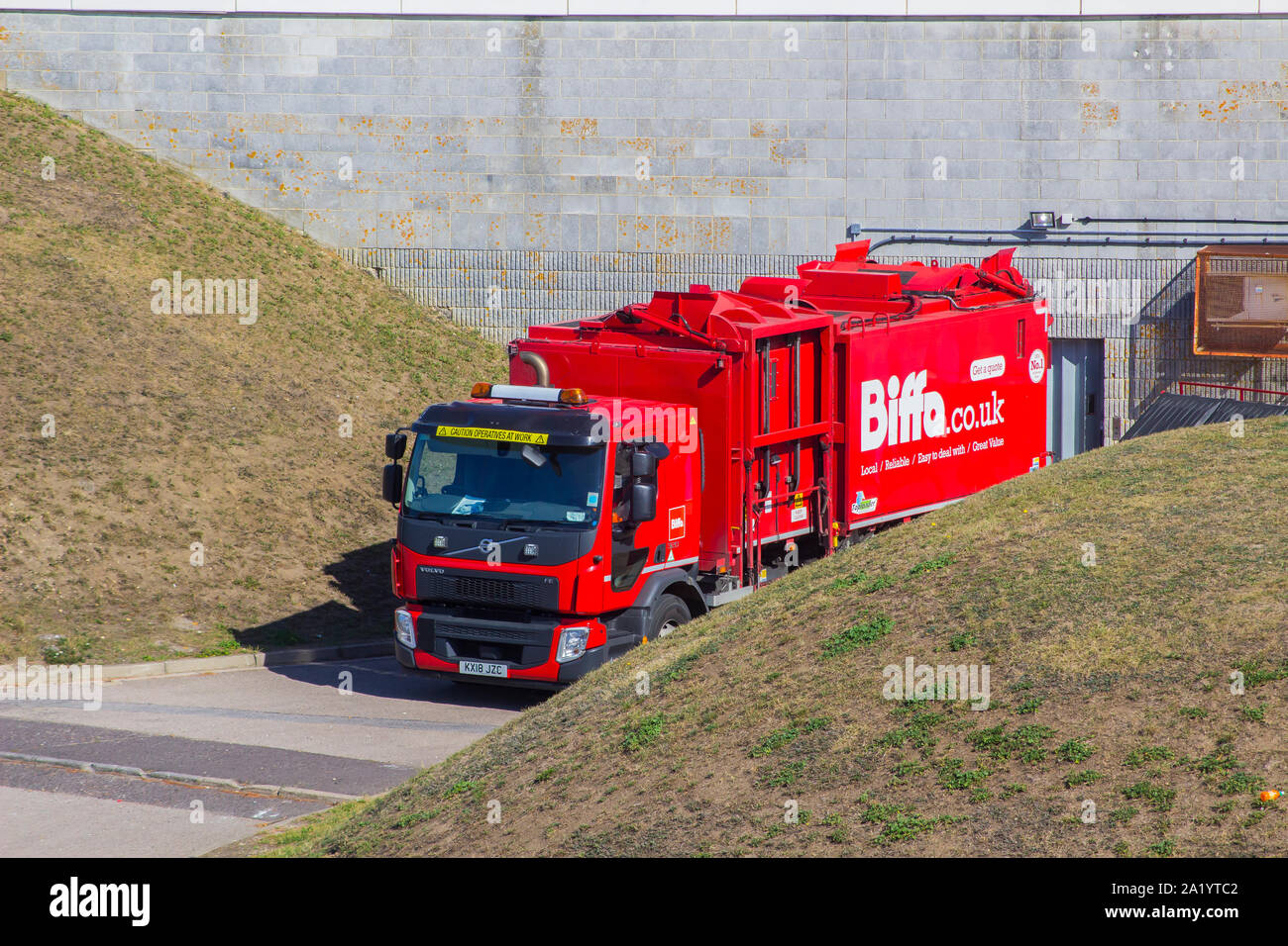 18 September 2019 A large Biffa Waste Disposal lorry at the rear service entrance to the Pyramids Centre facility in Portsmouth England Stock Photo