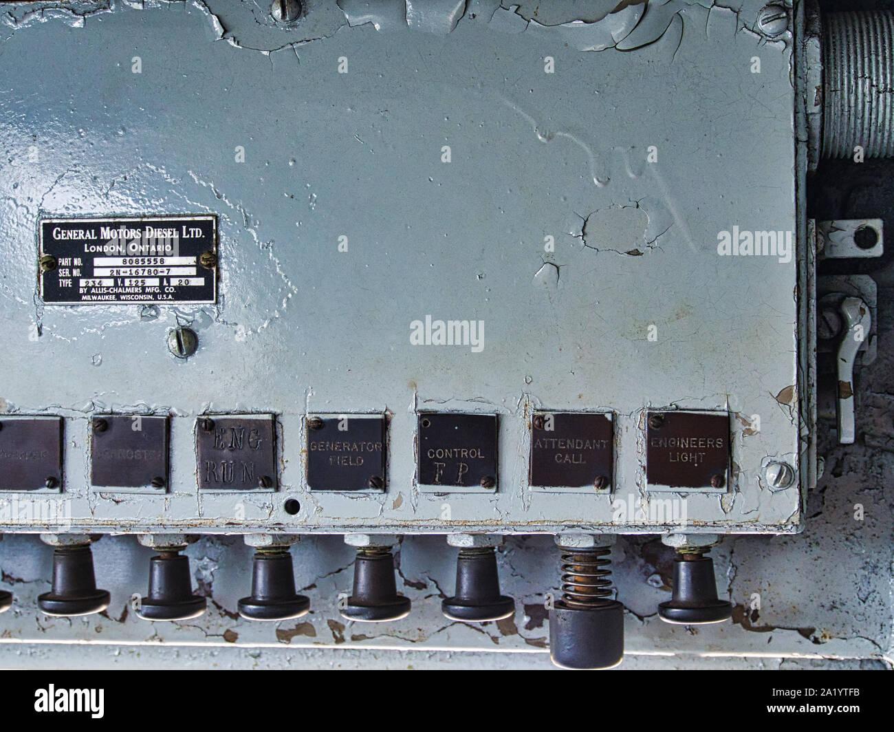 EMD F7 railroad engine controls details inside cab Stock Photo