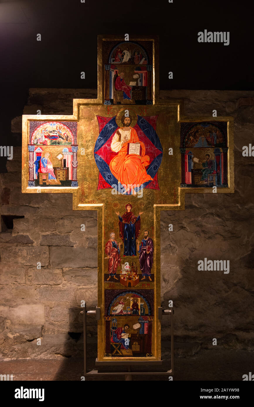 FLORENCE, ITALY - 25, MARCH, 2016: Vertical picture of holy catholic cross of underground museum in Cathedral of Santa Maria del Fiore , landmark of F Stock Photo