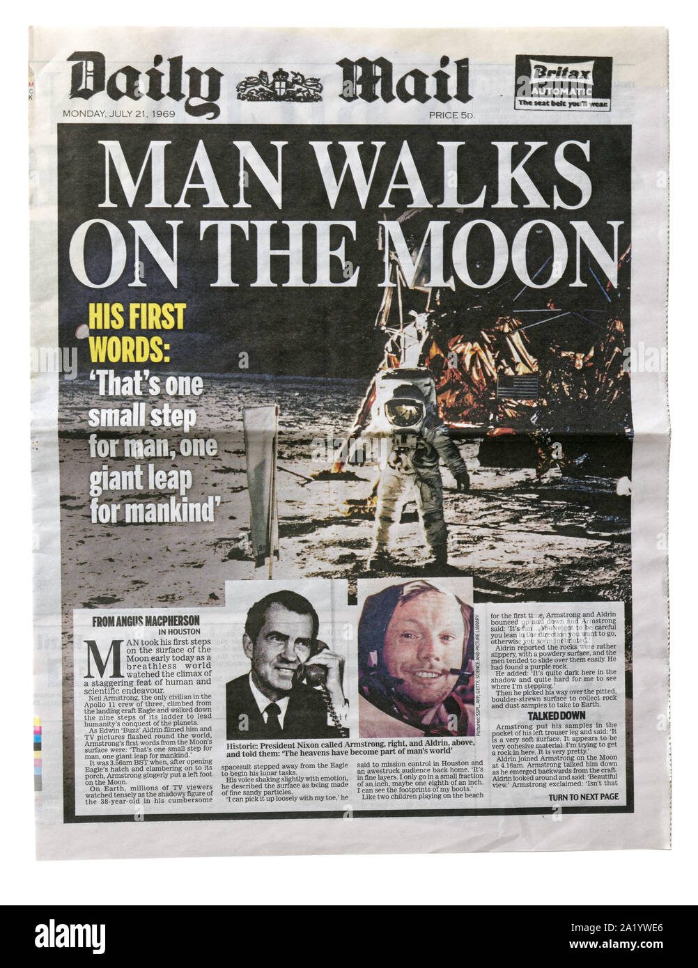 The front page of the Daily Mail from 21 July 1969 with the headline Man Walks on the Moon Stock Photo