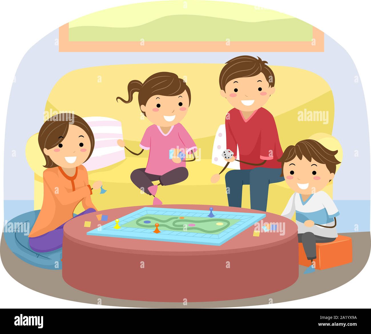 Illustration Family Playing Board Game High Resolution Stock Photography And Images Alamy