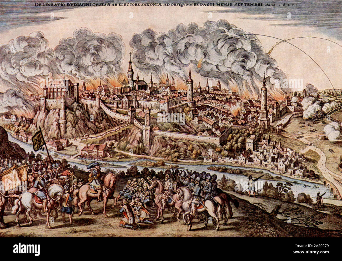 Thirty Years War, siege and capture of Bautzen by the Elector of Saxony, John George I - Matthaus Merian Stock Photo