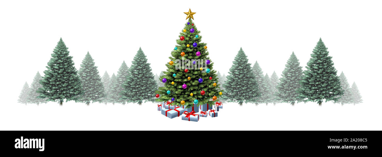 Christmas Tree Horizontal Border With Pine Trees On A White