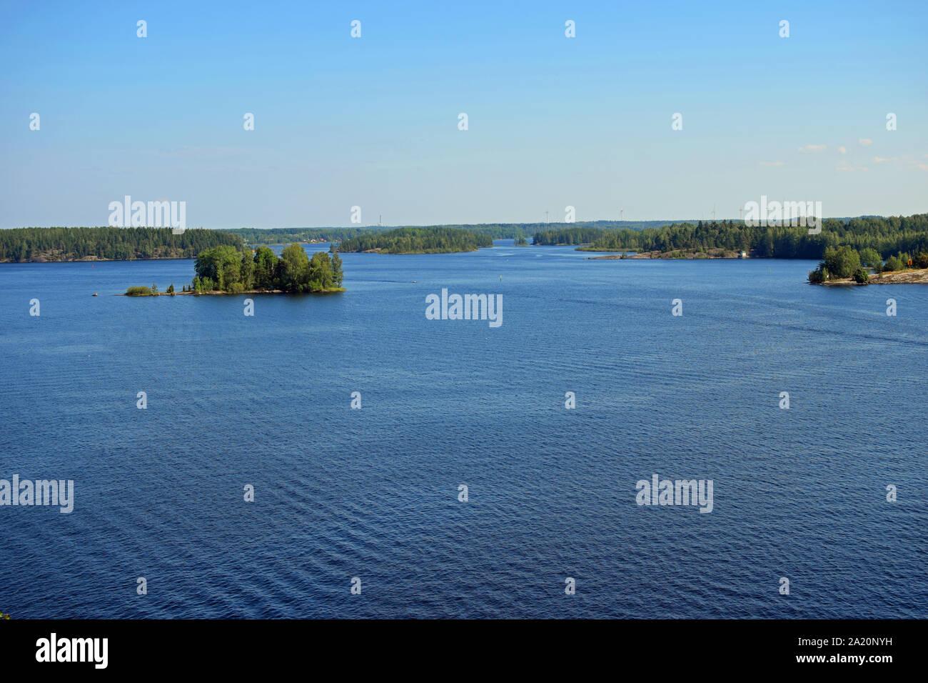 Landscape to lake Saimaa from Luukkaansalmi bridge in Lappeenranta, Finland. Stock Photo