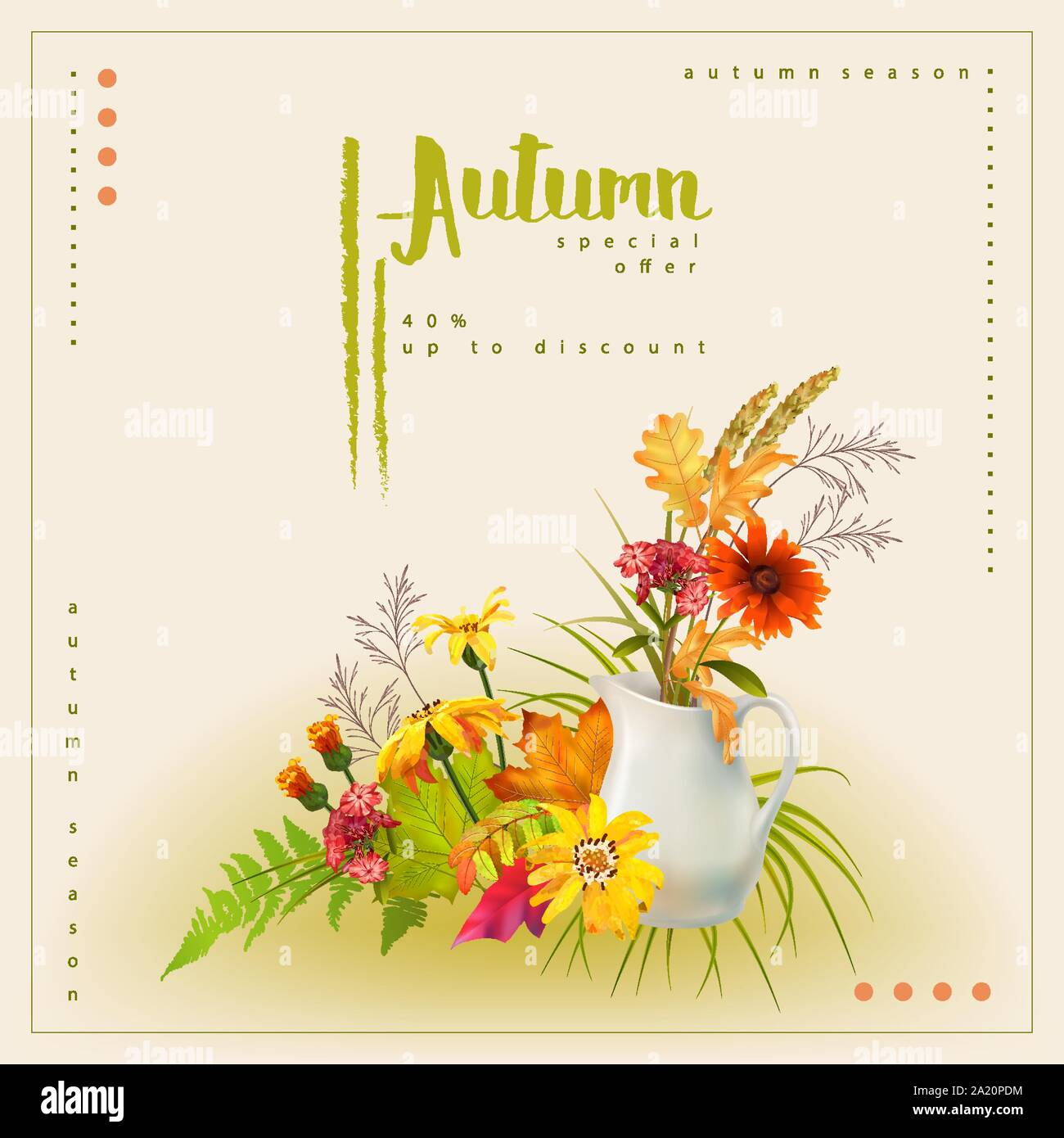Autumn poster template with white pitcher, bouquet of flowers and fallen leaves Stock Vector