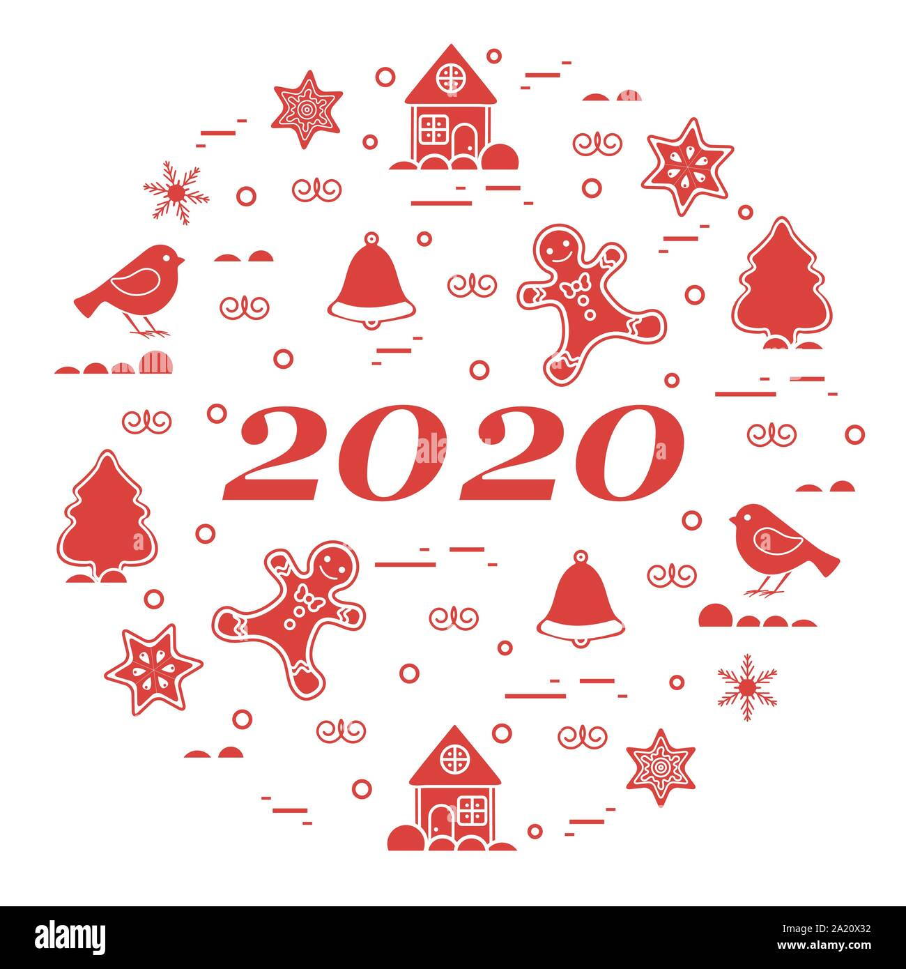 A Star For Christmas 2020 Happy New Year 2020 card. Merry Christmas. Vector illustration