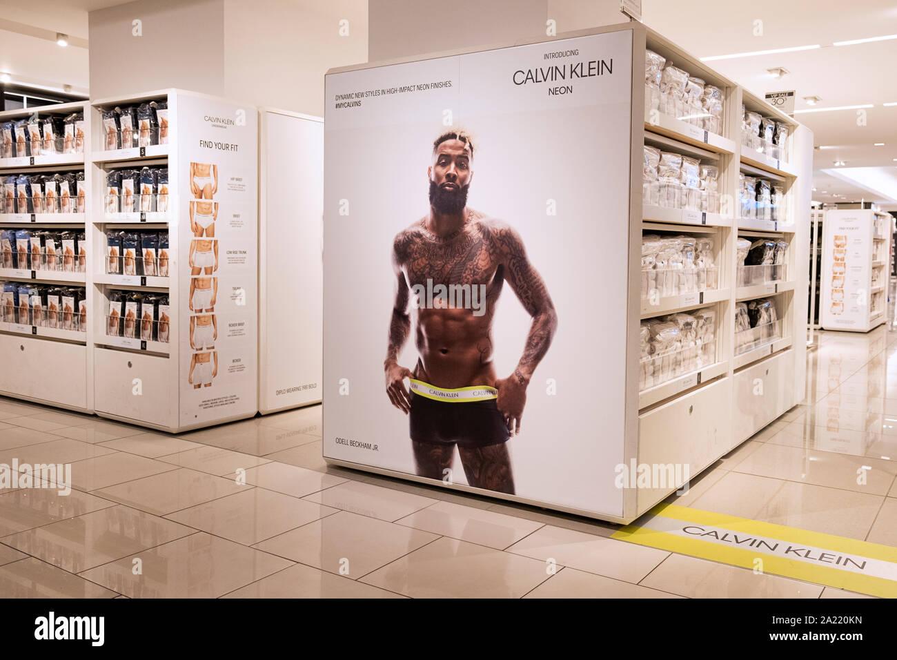 An Advertisement For Calvin Klein Men S Underwear Featuring Odell Beckham Jr In Macy S Herald Square In Manhattan New York City Stock Photo Alamy